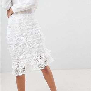 White Crochet Peplum Mermaid Pencil Skirt